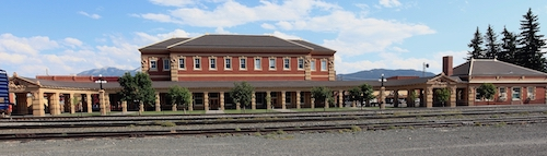 Exterior view of restored Livingston Train Depot.  Now a museum. Livingston is located on the Yellowstone River and nestled beneath three Mountain Ranges . It is the primary gateway community for entering Yellowstone National Park's North entrance. Named in 1882.
